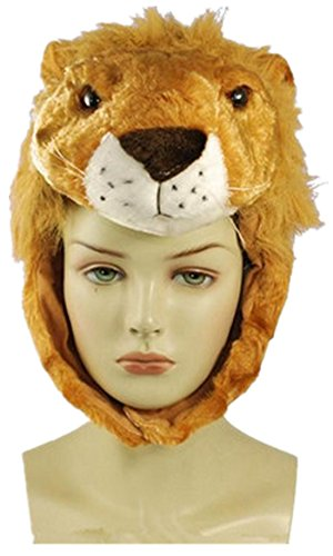 Funny Short Plush Multicolor Halloween Festival Party Creative Stereoscopic Forest Steppe Animals Mardi Gras Party Costume Hat (Lion)