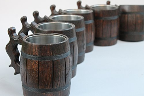 Set of 6 Handmade Wooden Beer Mug of Wood Eco Friendly Great Gift Ideas