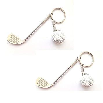 EQLEF 2 PCS Golf 3D Forma Llave Llavero Campo de Colorido ...