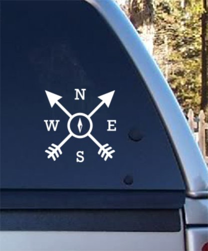- Compass Arrows Outdoor Adventure - Vinyl Decal - Car Phone Helmet - SELECT SIZE
