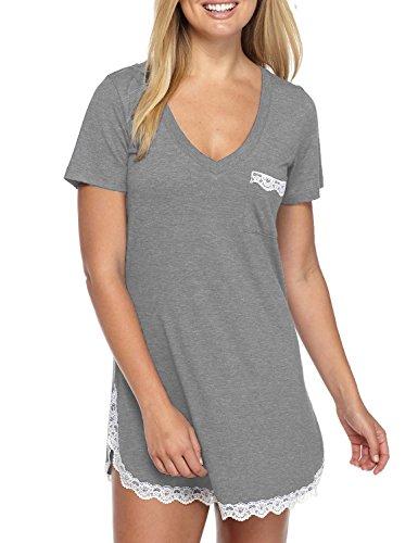 (Sechico Women's Short Sleeve V Neck Sleepwear Sexy Lace Trim Lounge Nightgown Grey L)
