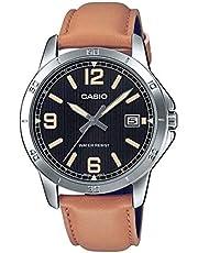 Casio MTP-V004L-1B2UDF Leather Black Striped Dial Tachymeter Bezel Round Analog Watch for Men - Camel