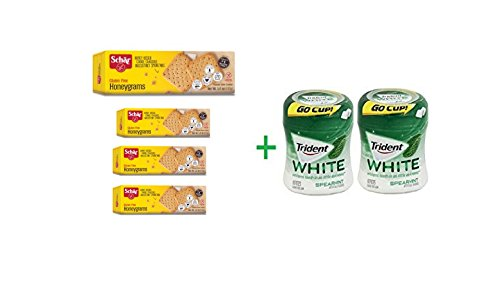 "Price comparison product image ""Schar Gluten Free Honeygrams Crackers 5.60 oz (Pack of 4) + 2 Trident Go Cup Spearmint 1/60 Count(BUNDLE)"""