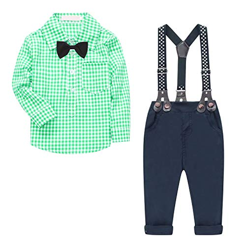 Baby Boy's 2 Pieces Tuxedo Outfit, Long Sleeves Plaids Button Down Dress Shirt with Bow Tie + Suspender Pants Set Infant Newborn Toddlers, Green 18-24 Months = Tag Size 95 (Tuxedo Piece Five Set)