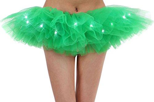 Adult's LED Light Up 5 Layered Tulle Tutu Mini Skirt, - Light Costumes Plus Size Up