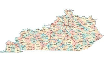 Home Comforts Kentucky Road Map State City County Louisville -Vivid Imagery