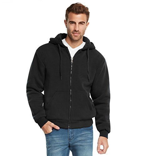 9 Crowns Essentials Mens Full Zip Sherpa Lined Fleece Hoodie Jacket-Black-2XL - Hooded Sweatshirt With Zipper