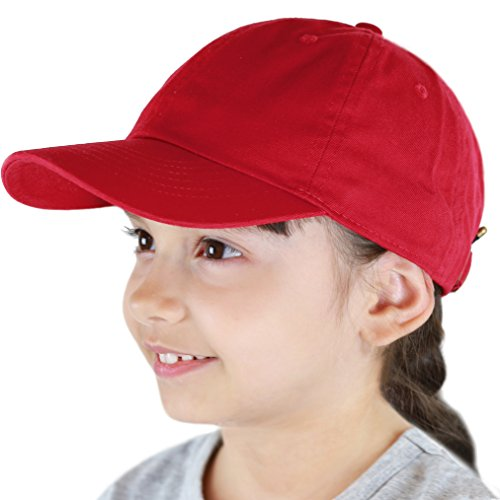 THE HAT DEPOT Kids Washed Low Profile Cotton and Denim Plain Baseball Cap Hat (Red)