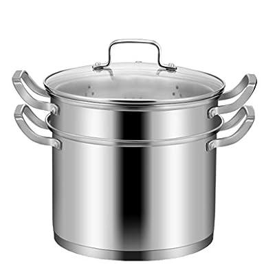 AMCER 24cm large Cooking Pot Stainless Steel Stock Pot Lid Filter, 7 Litre