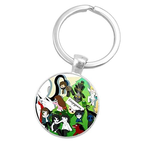 CHITOP Sugar Skull Creepypasta Creepy Pasta Ticci Toby Glass Keychain Jeff The Killer Gift -Nightmare Before Christmas (Silver) (1 (5))