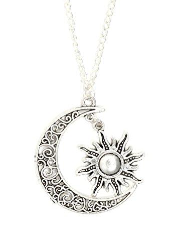 Magic Metal Crescent Moon and Sun Necklace Vintage Silver Tone Lunar Filigree Pendant NQ44 Fashion Jewelry
