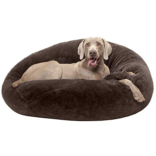 (FurHaven Pet Dog Bed | Round Plush Ball Pet Bed for Dogs & Cats, Espresso, Large)