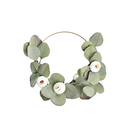 FAVOWREATH 2018 Vitality Series FAVO-W85 Handmade 8 inch Green Leaf,White Tea Rose Bud Metal Ring Wreath For Summer Front Door/Wall/Fireplace Wedding Floral Hanger Artificial Laurel/Eucaly Decor by FAVOWREATH