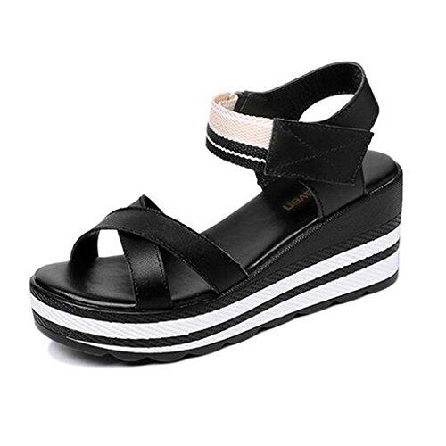 Fond Féminin Sandales Noir Bout Pente Loisirs Semelle Extérieure Épais Chaussures Ouvert Polyuréthane Velcro en Été De Étudiant zwxqwH5A