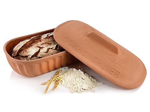 Bluespoon Brottopf aus Terrakotta zum Aufbewahren und Backen von Brot | Hohes Füllvolumen von ca. 4,5 L | Innenseiten sind lasiert und haben Lüfteinlässe an den Griffen