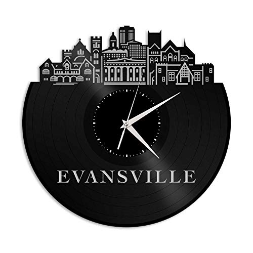 VinylShopUS - Evansville in Vinyl Wall Clock City Skyline Anniversary Unique Gift Office Home | Bedroom Decoration -