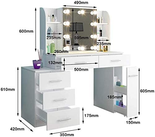 Aparador moderno y minimalista con cinco cajones con l/ámpara de tocador un espejo con el desplazamiento de mesa y taburetes de vestir una c/ómoda habitaci/ón,White