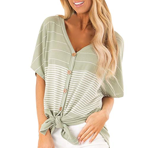YEZIJIN Fashion Womens Ladies Short Sleeve Striped Button Knot V-Neck Casual Top Under 10 Dollars 2019 Sexy Green ()