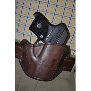 - Brown Leather Belt Slide Gun Holster for Ruger LCP .380