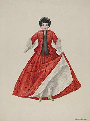 Artist  Edith Towner   Design  Doll    Mitio    Date  C  1940   Vintage Fine Art Print