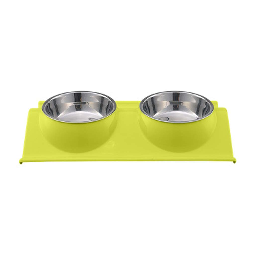 L NYDZDM Stainless Steel pet Double Bowl, cat Dog Food Bowl Dog Bowl cat Bowl, pet Supplies Single Bowl Dog Eating Water Dual Purpose (Size   L)