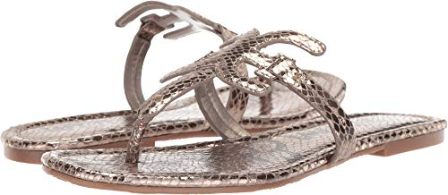 Sam Edelman Women's Carter Pewter Metallic Boa Snake Print 6.5 W US ()