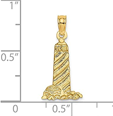 14k Yellow Gold Lighthouse With Buildings Pendant 22x10mm