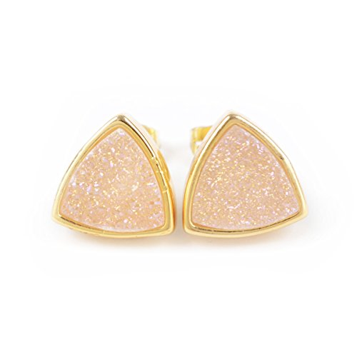 Gold Plated Titanium Earrings (18K 12mm Gold Plated Triangle Natural Agate Titanium Druzy Stud Earrings #ZG067-4 (AB) )