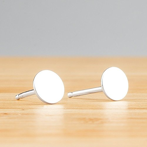 Small 5mm Round Sterling Silver Circle Disc Stud Earrings – Smooth and Flat Nail Head Mirror Posts