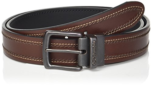 Columbia Men's Leather Reversible Casual Belt with Double Stitch , -brown/black, Large
