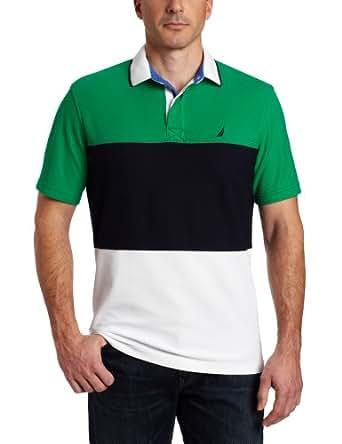 Nautica Men's Short Sleeve Pieced Polo, Parrot Green, Small