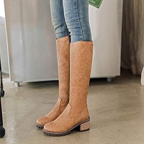 JingZhou 2018 Women Plus Size Winter Knee High Heels Boots Female Leather Plush Brown Knight Long Tall Booties Lady Snow Fall