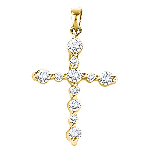(TwoBirch 14k Yellow Gold 14k Yellow Gold Cross Pendant Charm and Matching Chain set with Charles & Colvard Created Moissanite with Charles Colvard Created Moissanite (0.23 ct. twt.))