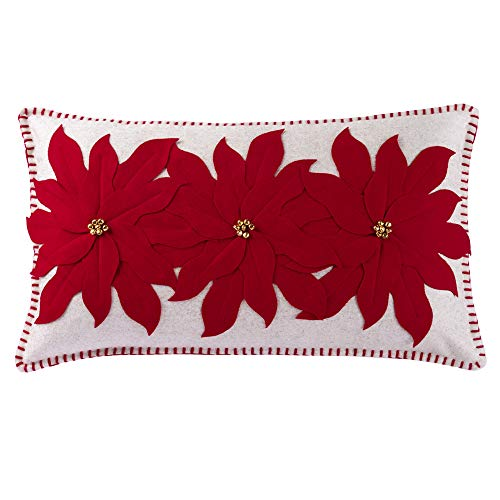 JWH Christmas Festival Accent Pillow Case Wool 3D Flowers Decorative Cushion Cover Handmade Applique Pillowcase Home Bed Living Room Sofa Car Bed Room Decor 14 x 24 Inch Red Poinsettia