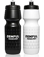 GEMFUL 24oz Bicycle Bottle BPA Free Sport Water Bottles with Bike Cage