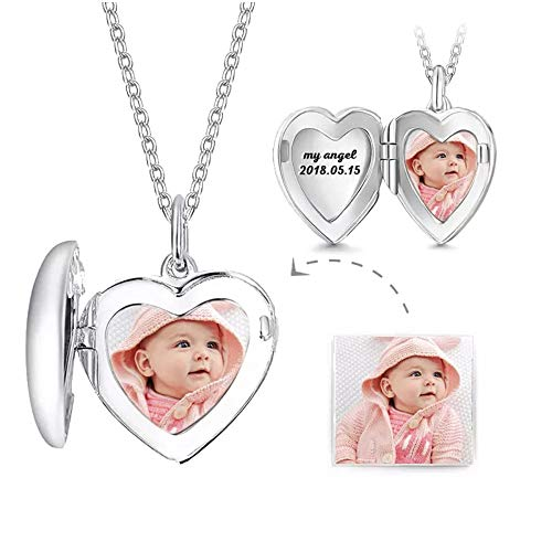 Sahaa Personalized Heart Locket Picture Necklace 925 Sterling Silver Custom Photo Lockets