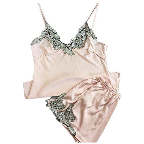 pigiama pink in gamma casa per per raso seta pantaloncini la donna alta Pettorina Abbigliamento da di di notte wvTE0xUnOq
