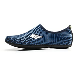 Wowfoot Water Sports Shoes For Women Men Kids Aqua Barefoot Socks Surf Pool Yoga (US M:8.5-9, W:9.5-10, Navy)
