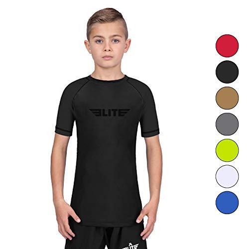 Elite Sports Standard Short Sleeve Kids Compression, MMA, BJJ, No-Gi, Cross Training Rash Guard (Black, Medium)