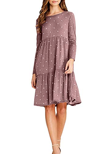 - levaca Women Polka Dot Long Sleeve Casual Loose Flowy Short Midi Dress Coffee M