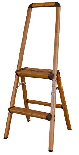 AmeriHome 700367 Lightweight Aluminum Step Ladder, 2 Step, Faux Wood Finish