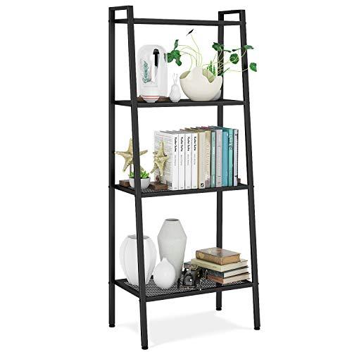 HOMFA Metal 4 Shelf Bookcase, Multifunctional Ladder-Shaped Plant Flower Stand Rack Bookrack Storage Shelves, Black Review