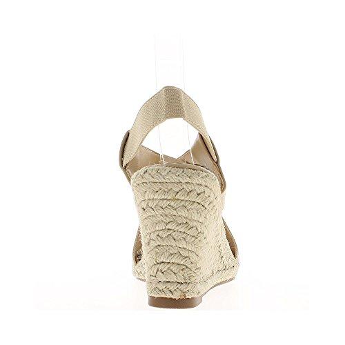 bridas 9 de color ancho talones beige de los de con de cuña a Zapatillas los 5cm BxfOnBSFa