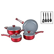 7 Piece Red Cookware Set with Bonus Utensils, Aluminum Ceramic Material, Eco-Friendly, Non-Stick Surface, With Lid, Stylish Professional Cookware, Pot Roast, Dark Burgundy Red