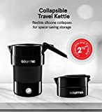 Gourmia GK338B Electric Collapsible Travel Kettle - Foldable & Portable - Fast Boil - Water Boiler For Coffee, Tea & More - Food Grade Silicone - Boil Dry Protection -1 Qt - 4 Cup