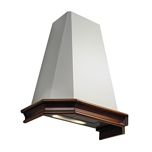 Futuro Futuro Portland Plus 36 Inch Wall-mount Range Hood, Classic Design, White Steel & Wood, Ultra-Quiet, with Blower