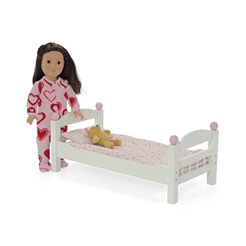 18 inch doll furniture stackable white single bunk bed with bedding fits ebay. Black Bedroom Furniture Sets. Home Design Ideas