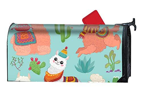MALBX Set of Cute Alpaca Lama and Desert Summer Magnetic Mailbox Cover Tropical Beach Humor -