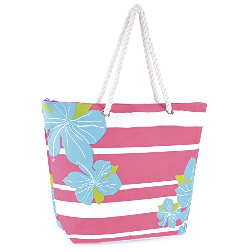 Design Print Flora Summer Shopping Tote Stripe Large Pool Floral Ladies Pink Bag Swim Blue Beach xI4q6Utw
