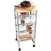 Mind Reader 4WIRECART-SIL Stainless Steel Mobile Kitchen Cart, Bar Cart, Office Cart, Utility Cart